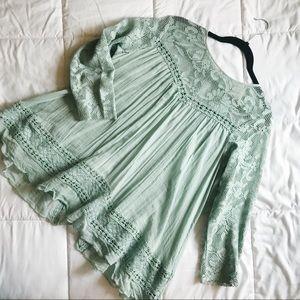 Free People mint crochet top
